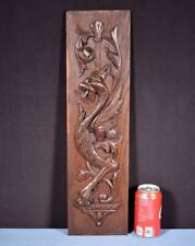 *Antique French Carved Oak Wood Panel with Dragon/Griffin Salvage