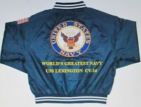 "USS LEXINGTON  CV-16  NAVY ANCHOR "" EMBROIDERED 2-SIDED SATIN JACKET"