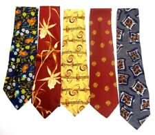 LOT OF 5 MEN'S NECK TIES VILLAGE SQUIRE GIANFRANCO FERRE FOSSIL MARK PENDLETON
