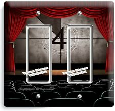 TV ROOM HOME MOVIE THEATER BIG SCREEN DOUBLE GFCI LIGHT SWITCH WALL PLATE COVER