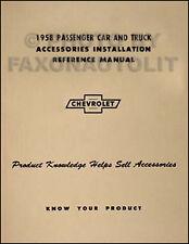 1958 Chevrolet Accessory Installation Manual 58 Chevy Car Corvette Pickup Truck