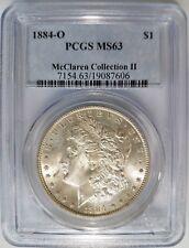 1884 O Silver Morgan Dollar PCGS MS 63 McClaren Hoard Collection Pedigree Coin