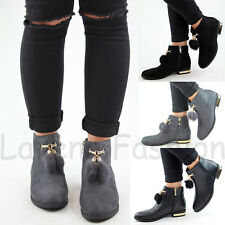 New Womens Ladies Flat Ankle Boots Pom Pom Embellished Zip Casual Shoes Sizes