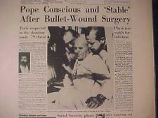 VINTAGE NEWSPAPER HEADLINE ~CRIME POPE JOHN PAUL II ASSASSIN ARRESTED GUN SHOT~
