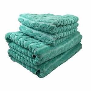 Ralph Lauren Aqua Blue 2 Bath and 2 Hand Towels Made in USA Cable Knit Design