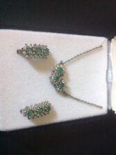 "Vintage House of Nikolas 925 Silver Three Green Stone 18"" Pendant & Earrings Set"