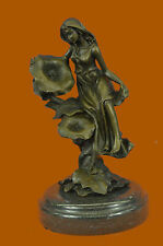 Valentine Day Gift Sexy Girl With Flower Bronze Sculpture Marble Base Sale Deal