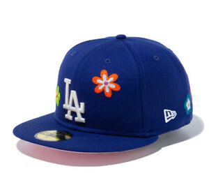 New Era 59Fifty Chain Stitch Floral Los Angeles Dodgers Cap Pink Visor New
