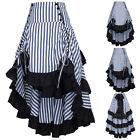 vintage style à rayures froncé steampunk gothique punk Agitation haut/bas jupe