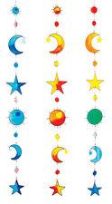 VETRO Colorato Effetto Sole, Luna & Stelle Resina Suncatcher. 93 CM. Blu.