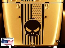 NEW PUNISHER SKULL FLAG Blackout Hood Vinyl Decal (Fits Jeep Wrangler)