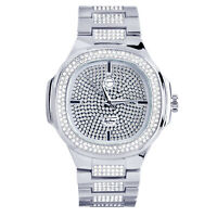 Men's Fashion CZ Icy Techno Pave Heavy Silver Toned Metal Band Watch WM 8403 S