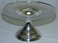 Antique Sheffield USA Silver Plate Pierced Top Cake Cookie Stand Compote K.S.Co
