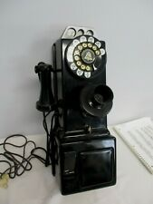 ANTIQUE BELL SYSTEM 3 SLOT COIN OPERATED ROTARY DIAL TELEPHONE ~ WORKS