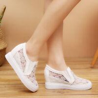 Women's Hollow Lace Up Platform Hidden Wedge Sneakers High Heels Casual Shoes