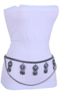 Women Hip High Waist Belt Silver Metal Chain Feather Blue Charm Plus Size XL XXL