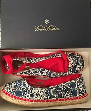 New in Box Brooks Brother 9 Liberty of London Blue Espadrille Flats w/ Red Ties