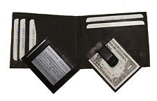 Mens Genuine Leather Bifold Snooze Money Clip Wallet ID Credit Card Holder
