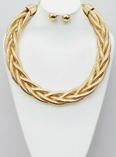 Gold Tone Cocoon Chain Braided Accents Collar Necklace Earring Set
