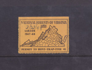 State Hunting/Fishing Revenues - VA - 1947 National Forest Stamp ($1) - Used