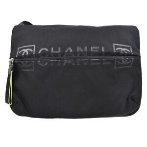 CHANEL Sport Line CC Messenger Shoulder Bag 9430038 Black Light Green 82633
