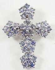 "10K White Gold Tanzanite Cross Pendant Religious 1.25"" Prong Set"