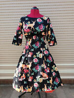 Hell Bunny Hermeline Vintage Rockabilly Pinup Swing Dress Woodland Animal Fox