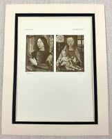 1927 Antique Print Diptych Painting Madonna and Child Portrait Hans Memling Rare