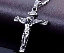 """3D STAINLESS STEEL & CROSS CRUCIFIX PENDANT NECKLACE & CHAIN 18"""" CHAIN #SM."""