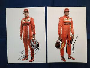 Leclerc & Sainz Jr. signed 2021 Ferrari F1 official portrait cards 15x21cm SF21