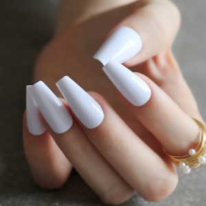MEDIUM COFFIN *WHITE* Full Cover Press On Ballerina 24 Nail Tips + Glue!
