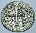 1726 Spanish Silver 1 Reales Genuine Antique 1700s Colonial Cross Pirate Coin