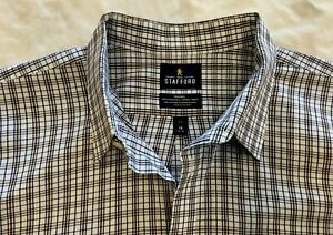 Stafford Travel Blue/Brown Striped Tailored LS Button Shirt Big 19 34/35