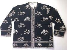 Sam Hiln Black Rockabilly Retro Pinup Bicycle Bikes Boho Cardigan Sweater Sz XL