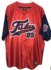 Vtg Fubu 05 The Collection Champion League Stitching Baseball Jersey Red Blue XL