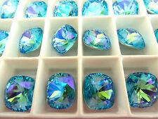 4 Aqua Glacier Blue Swarovski Crystal Square Cushion Cut  Stone 4470 12mm