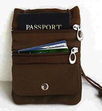 Brown genuine Leather ID Holder Neck Pouch Travel Passport Adjustable Strap NR