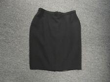 AKRIS Black Solid Wool Lined Fitted Knee Length Pencil Skirt Size 16 EE5264