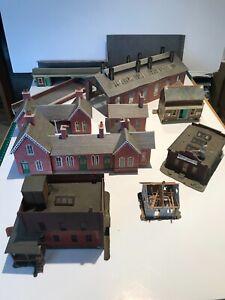 Vintage Model Railway Layout Buildings -bundle lot, includes plastic & cardboard