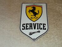 "VINTAGE ""FERRARI HORSE SPORTS CAR SERVICE"" 6"" PORCELAIN METAL GASOLINE OIL SIGN!"