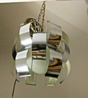 Chrome Loop Ribbon Pendant Light Chandelier MCM circa 1970s