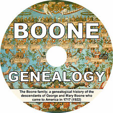 BOONE Family Name (1922) Tree History Genealogy Biography - Book on CD