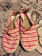 TORY BURCH WOMENS STRIPED NEON SLIP ON ESPADRILLE BEACH SHOES FLATS PINK RED 9