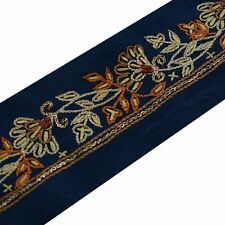 Vintage Saree Border Indian Craft Trim Antique Hand Embroidered Lace Ribbon Blue