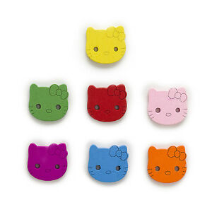 50pcs 2 Hole Mixed Lovely Cat Wood Buttons Sewing Scrapbooking Decor 20x18mm