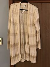 CJ Banks Plus Size 1X NWT Long, no closure Sweater Tan colors. Nice Texture!