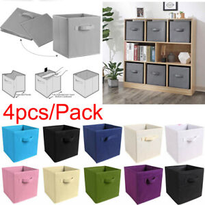 4 Pcs Fabric Square Canvas Foldable Storage Cubes Box Drawers Collapsible Grey