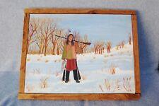 "Indian Hunter Painting Original Signed Primitive Folk Art Wood Canvas 17 x14"""
