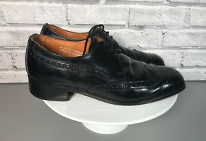 Mens LOAKE Black Leather Lace Up Smart Brogue Shoes Size UK 7.5 Made in England