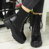 Womens Ankle Boots Ladies Lace Up Goth Punk Sock Zip Heel Platform Comfy Shoes